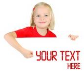 Kind dat op witte aanplakborden trekt Stock Fotografie