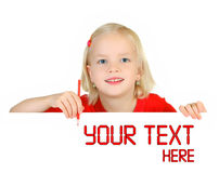 Kind dat op witte aanplakborden trekt Royalty-vrije Stock Afbeelding
