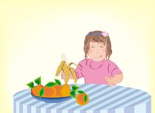 Kind dat vruchten eet Royalty-vrije Stock Afbeelding