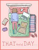 That kind of day. PMS. Tired girl. Mess at home. Comic style image royalty free illustration