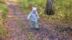 Kind in de herfstpark die en pret hebben die, die in de verse lucht lopen spelen lachen Een mooie toneelplaats stock video