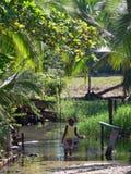 Kind in den Schmutzwassern, Bastimentos Stockfoto