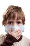 Kind in der Medizinschablone lizenzfreie stockbilder