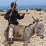 Kind die een ezel berijden Royalty-vrije Stock Fotografie