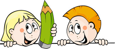 Kind die een potlood houden en van achter een witte oppervlakte gluren - vectorillustratie vector illustratie