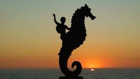 Kind die een Seahorse berijden royalty-vrije stock foto