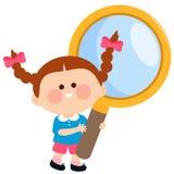 Kind die een vergrootglas houden royalty-vrije illustratie