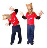 Kind die Halloween-kostuum dragen Stock Afbeelding