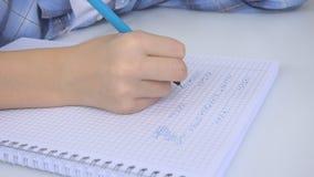 Kind die in Klaslokaal, het Bestuderen, Jong geitjethuiswerk, Student Learning Mathematics schrijven stock videobeelden