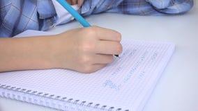 Kind die in Klaslokaal, het Bestuderen, Jong geitjethuiswerk, Student Learning Mathematics schrijven stock footage