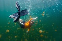 Kind die in Kwallenmeer snorkelen royalty-vrije stock afbeeldingen