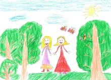 Kind ` die s gelukkige familie trekken Stock Foto