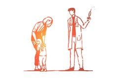 Kind, Doktor, Einspritzung, Furcht, Spritzenkonzept Hand gezeichneter lokalisierter Vektor lizenzfreie abbildung