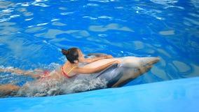 Kind en dolfijnen Het tienermeisje zwemt met dolfijn houdend op zijn vinnen stock footage