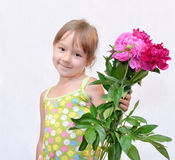 Kind en flowerses Royalty-vrije Stock Afbeelding