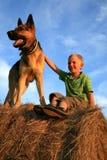 Kind en hond Stock Afbeeldingen