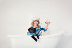 Kind en hond Stock Foto