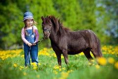 Kind en klein paard op gebied stock fotografie