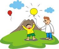 Kind en papaspelballon Stock Foto