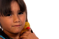 Kind en RubberDucky Stock Fotografie