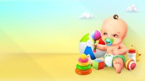 Kind en stuk speelgoed royalty-vrije illustratie