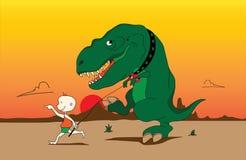 Kind en t-Rex Stock Fotografie