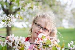 Kind en tot bloei komende bloemen in tuin Royalty-vrije Stock Foto