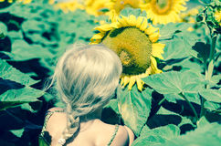 Kind en zonnebloem Royalty-vrije Stock Foto