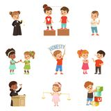 Kind and fair little children set, kids protecting friends, sharing with each other, carrying out justice vector. Illustrations isolated on a white background vector illustration