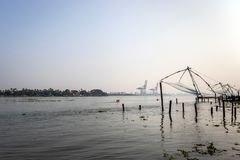 Fishing nets chinese at kochi cost with sea morning view stock photography