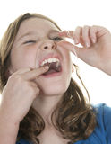 Kind flossing lizenzfreies stockfoto