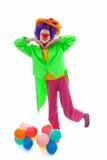 Kind gekleidet als bunter lustiger Clown stockfoto