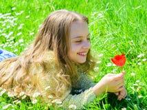 Kind genießen Duft der Tulpe beim Lügen an der Wiese Mädchen mit dem langen Haar, das auf grassplot, Grashintergrund liegt Mädche stockfotografie