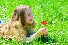 Kind genießen Duft der Tulpe beim Lügen an der Wiese Mädchen mit dem langen Haar, das auf grassplot, Grashintergrund liegt Duftst stockfotografie
