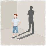 Kind gietende schaduw van de jonge mens vector illustratie