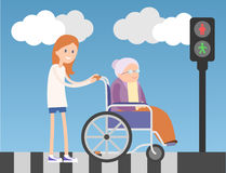 Kind girl helps old lady on wheelchair. Colorful flat illustration. Blue sky and clouds on background Royalty Free Stock Photos
