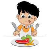Kind glücklich mit Steak vektor abbildung