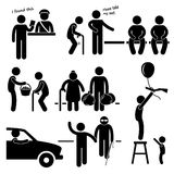 Kind Good Hearted Man Helping People. A set of pictograms representing a kind man helping people in need royalty free illustration