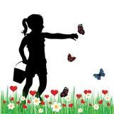 Kind in gras royalty-vrije illustratie