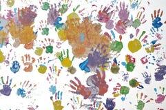 Kind handprint auf der Wand. Stockbilder