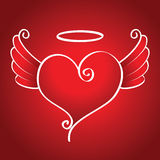 Kind heart. With wings flies on a red background Stock Images
