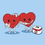 Kind heart helping pain heart vector hand drawn illustration