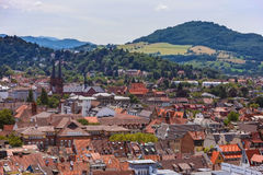 Kind from the height of cathedral of city of Freiburg Royalty Free Stock Photos