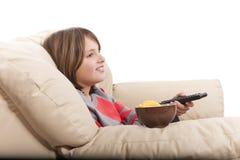 kind het letten op televisie royalty-vrije stock foto's
