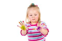 Kind het schilderen met vingers Stock Afbeelding