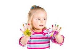 Kind het schilderen met vingers Stock Foto's