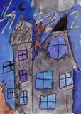 Kind het schilderen van een Kasteel in het Onweer Gemengde media Stock Afbeelding