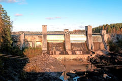 Kind on hydroelectric power station. In the city of Imatra, Finland royalty free stock photo