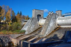 Kind on hydroelectric power station. In the city of Imatra, Finland stock photo