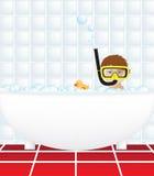 Kind im Bad mit Snorkel Stockbilder